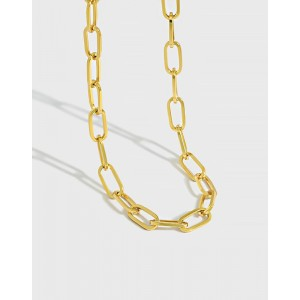 CONSTANCE Gold Vermeil Paperclip Choker | Small