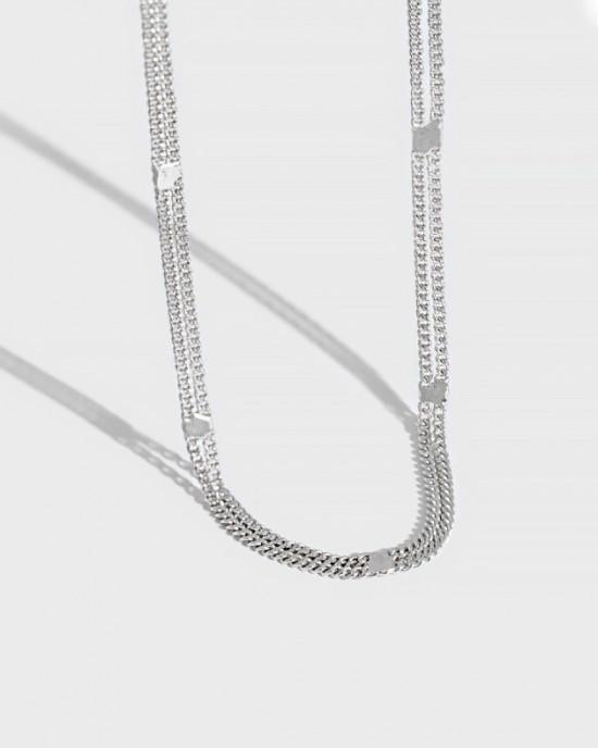 MIRIAM Sterling Silver Double Chain Choker
