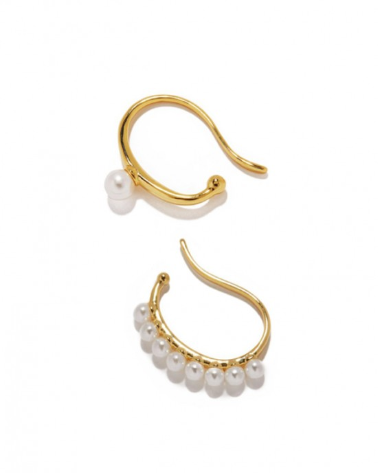 CAMILLE Gold Pearl Suspender Ear Cuff Set