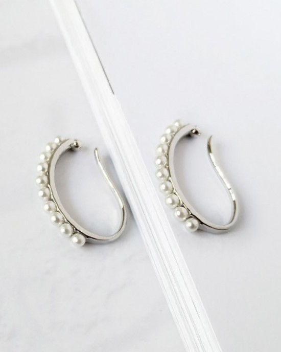 CAMILLE Silver Pearl Suspender Ear Cuff Set