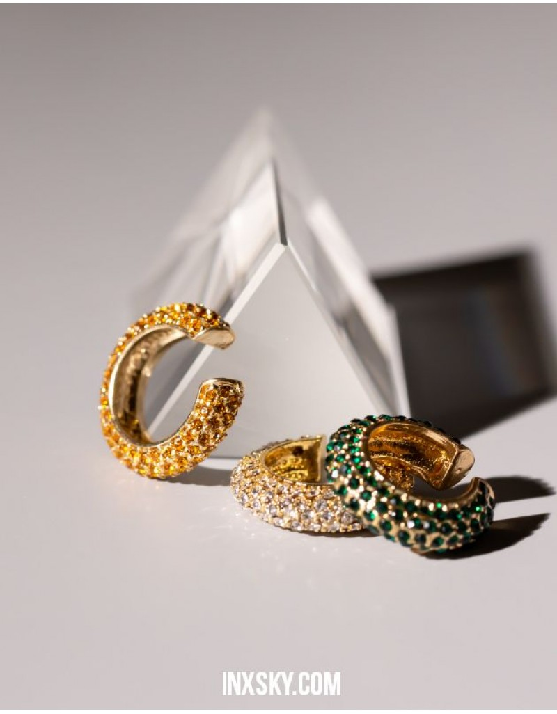EMILIE Emerald Green Cubic Zirconia Ear Cuff