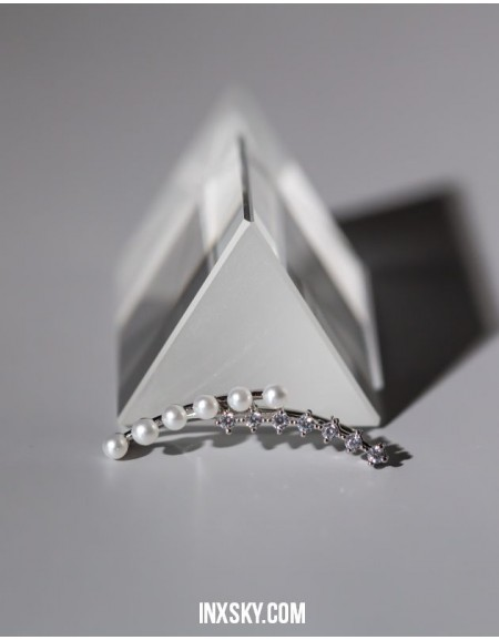 EMMA Silver Pearl CZ Ear Climber