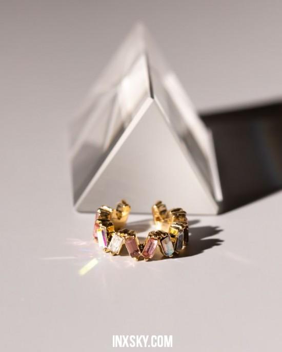 LEILA Pink Glass Stones Ear Cuff