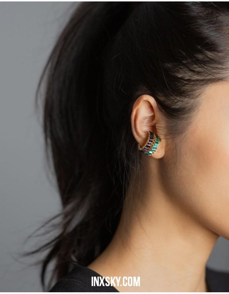 LOLITA Black Glass Stones Ear Cuff