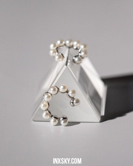 MINA Silver Pearl Ear Cuffs