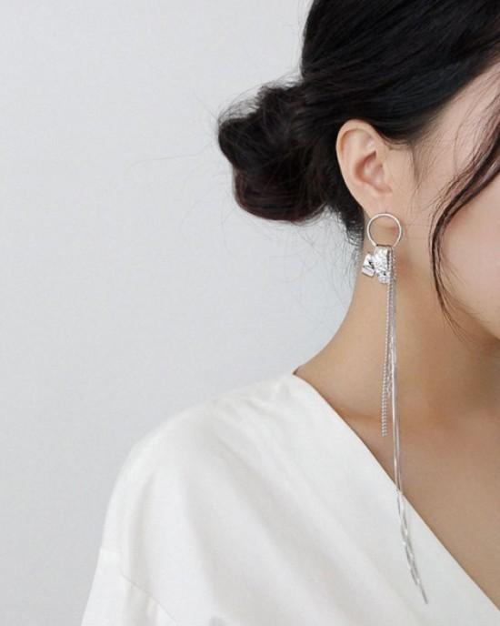 ADELE Silver Long Drop Earring