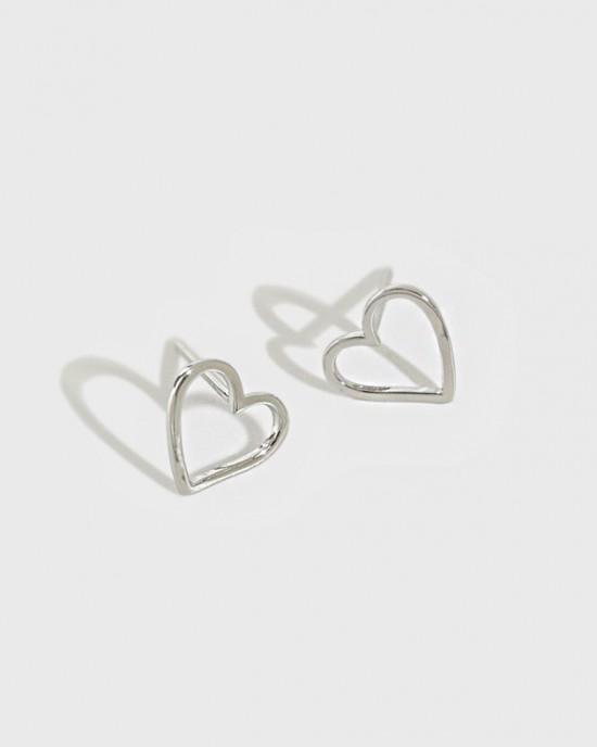 AMOUR Sterling  Silver Heart Earrings