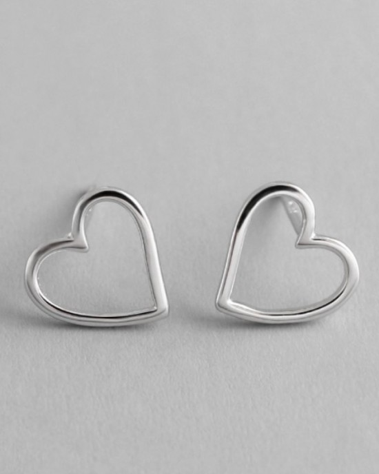 AMOUR Sterling  Silver Heart Earrings