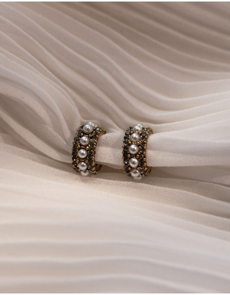 EDITH Pearl Hoop Earrings