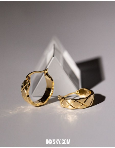 EVELYN Quilted Hoop Earrings