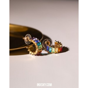 LOLA Rainbow Hoop Earrings | Small