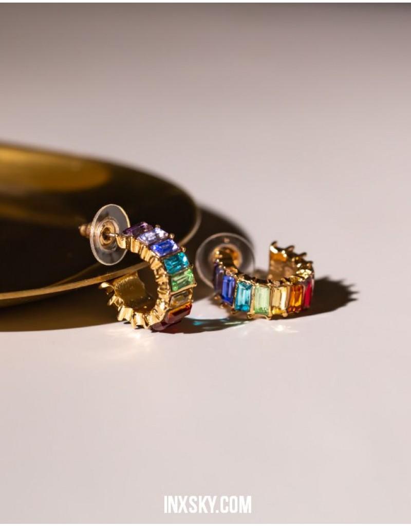 LOLA Rainbow Hoop Earrings | Small Size