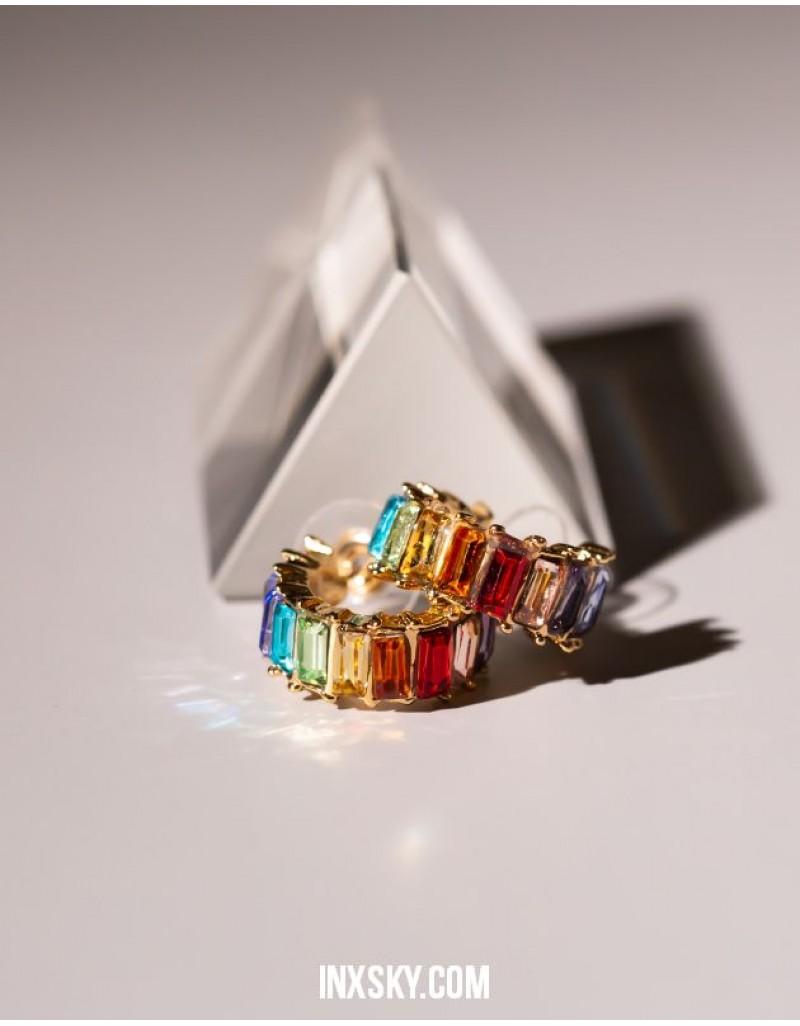 LOLA Rainbow Hoop Earrings | Small