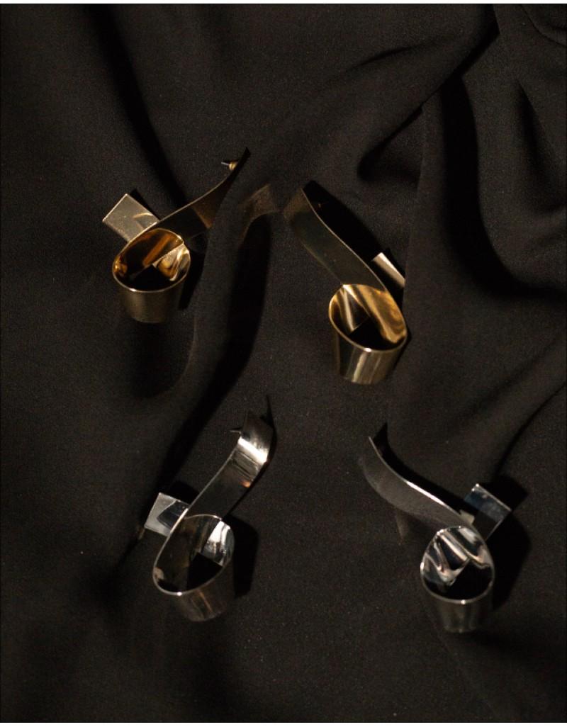 RIBBON Silver Earrings