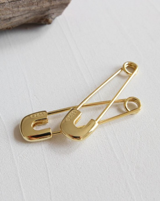 SAFETY PIN Gold Vermeil Earrings