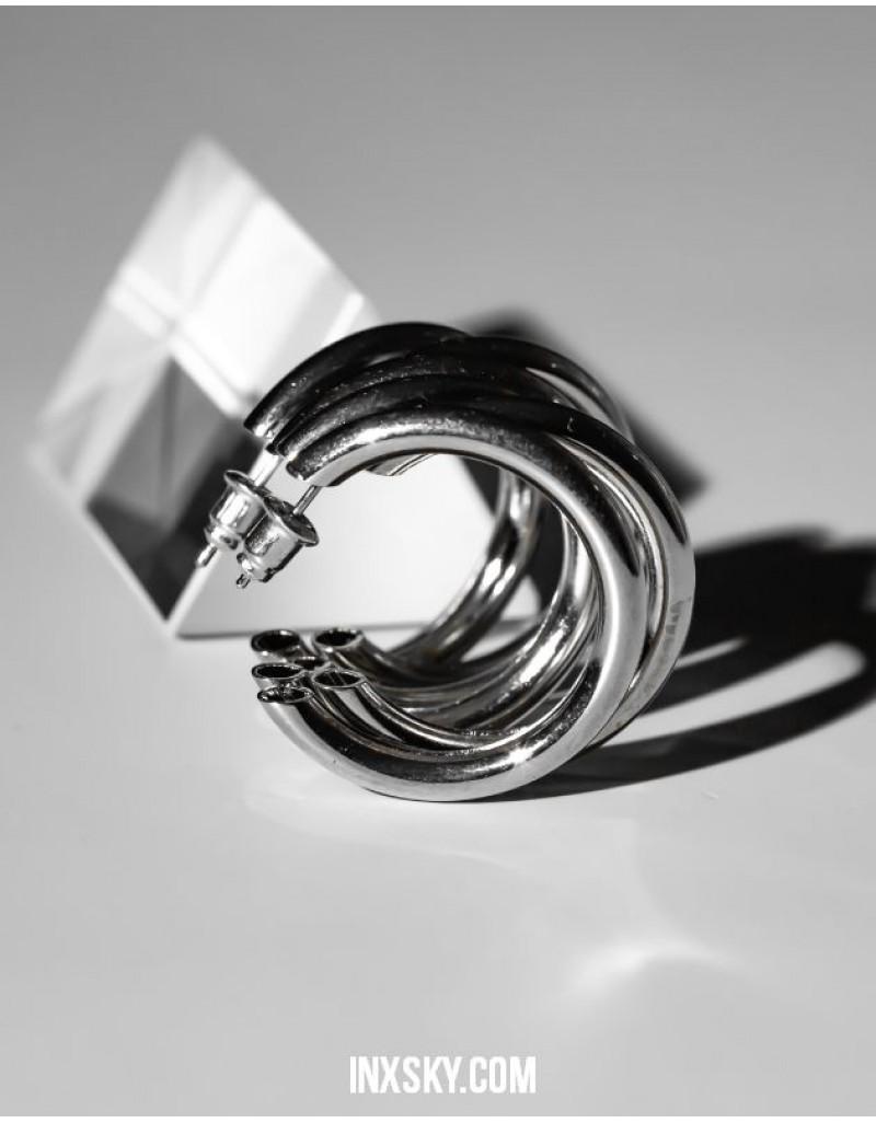 TRIPLE Silver Hoop Earrings