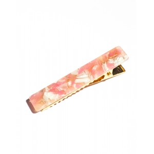 BLOSSOM Hinged Barrette | Long Hair Pin - Pink Flower