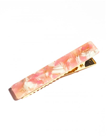 BLOSSOM Hinged Barrette | Long Hair Pin - Pink Flower
