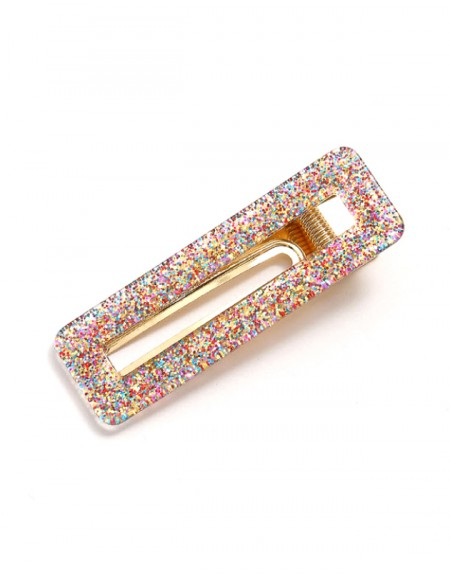 CONFETTI Hinged Barrette | Rectangle