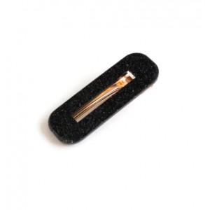 GLITTERFALL Hinged Barrette | Rectangle - Glitter Black