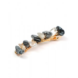JADE Hair Barrette | Black Natural Stones