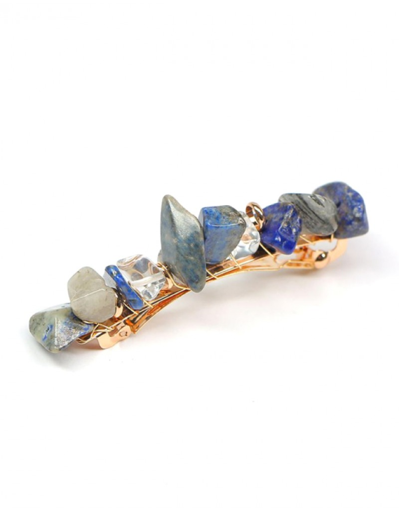 JADE Hair Barrette | Blue Natural Stones