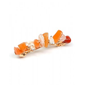 JADE Hair Barrette | Orange Natural Stones