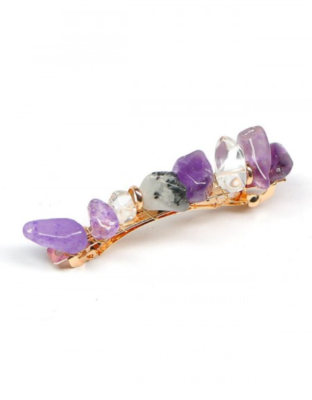 JADE Hair Barrette | Purple Natural Stones