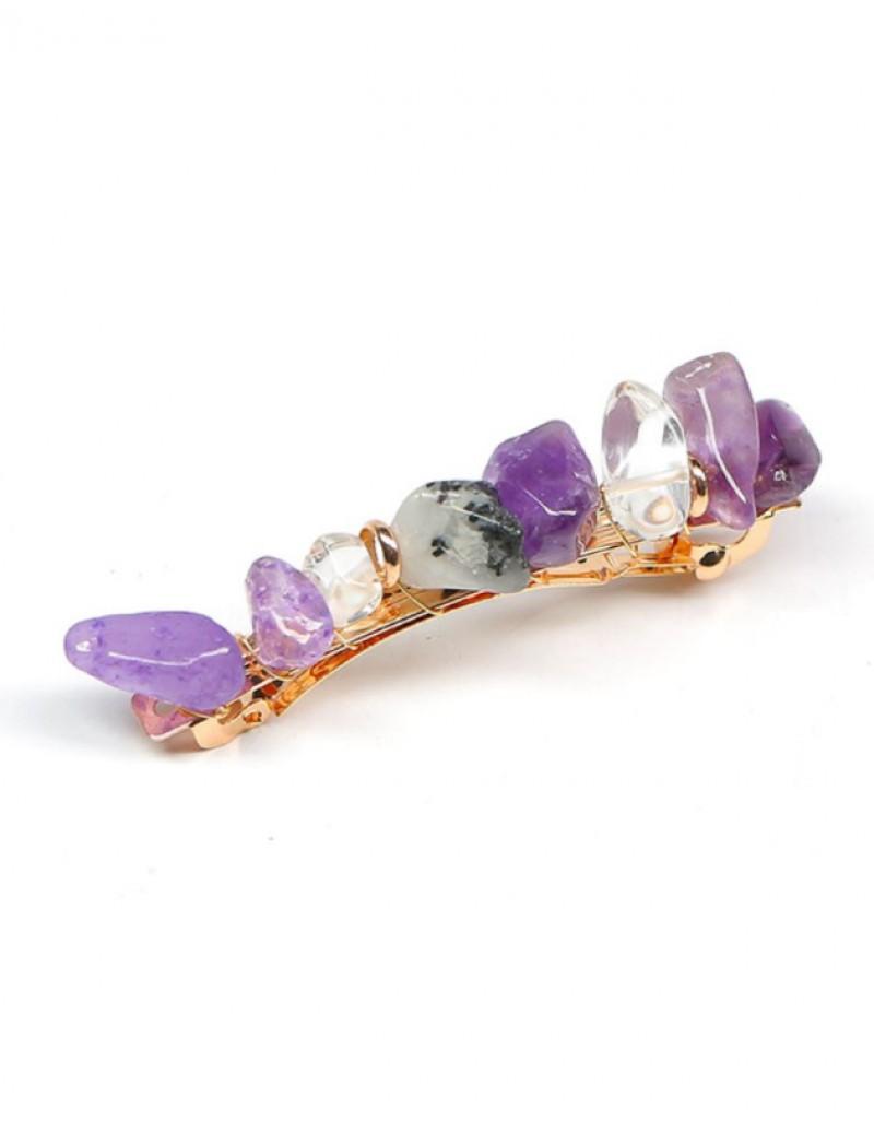 JADE Hair Barrette | Purple Natural Stones