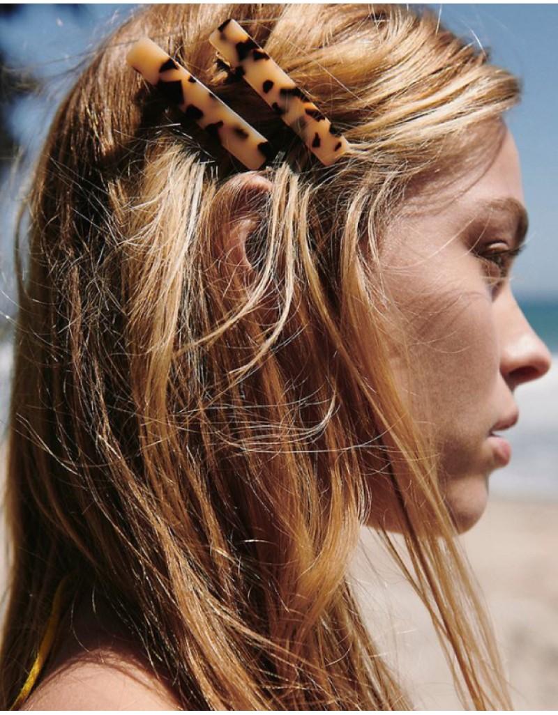 LEOPARD Hinged Barrette | Long Hair Pin - Leo Beige