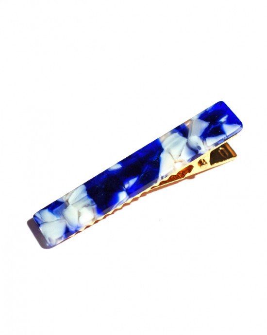 MARBLE Hinged Barrette | Long Hair Pin - Marble Blue