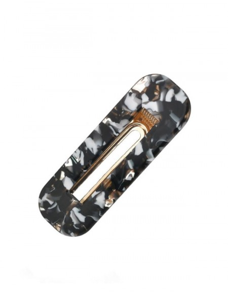 MARBLE Hinged Barrette | Rectangle - Marble Black