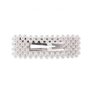 PEARL BEADS Hair Clips | Rectangle Silver