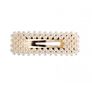PEARL BEADS Hair Clips | Rectangle Gold