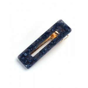 SAKURA Hinged Barrette | Rectangle - Blue Speckle