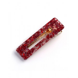 SAKURA Hinged Barrette | Rectangle - Red Speckle