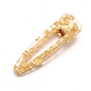 SNOWFLAKE Hinged Barrette | Waterdrop - Gold Flake