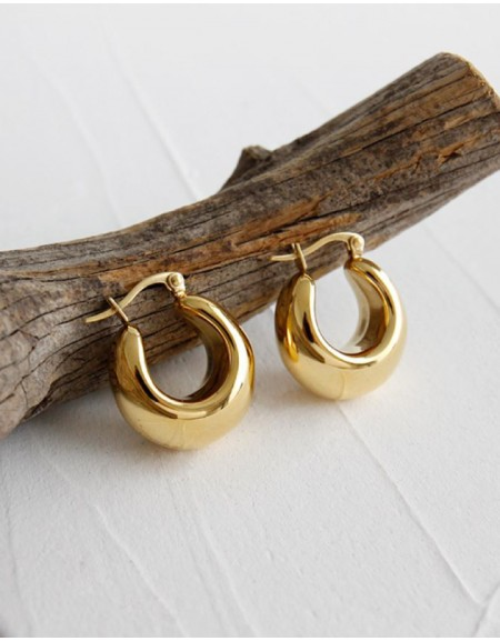 CLARA Gold Dome Hoop Earrings