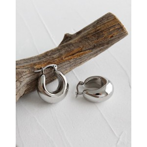 CLARA Silver Dome Hoop Earrings