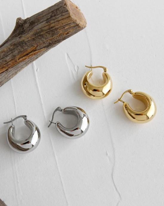 CLARA Silver Dome Hoop Earrings