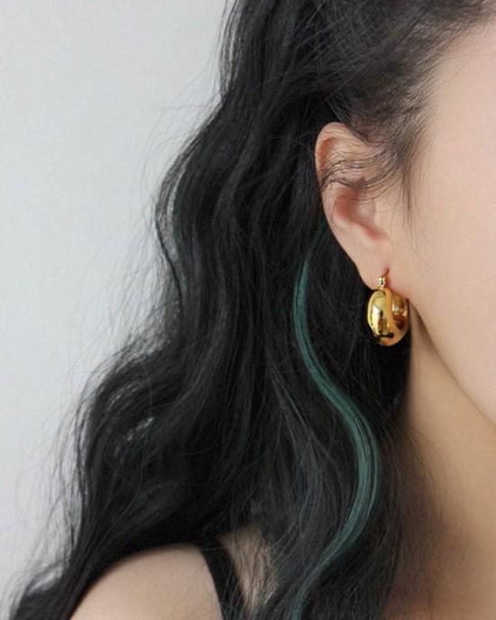 CLARA Gold Dome Hoop Earrings