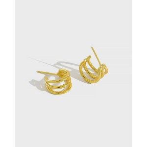 ELIANE Gold Vermeil Triple Hoop Earrings