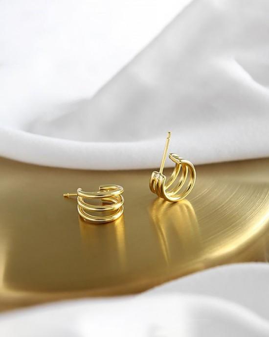 ELIANE Gold Vermeil Triple Hoop Earrings