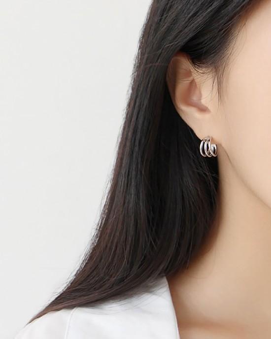 ELIANE Sterling Silver Triple Hoop Earrings