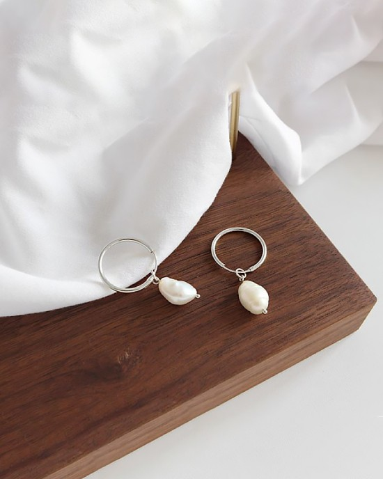 JULIETTE Silver Baroque Pearl Earrings