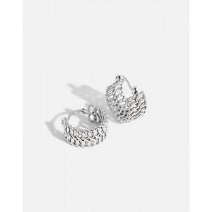 KELLY Silver Double Chain Hoop Earrings