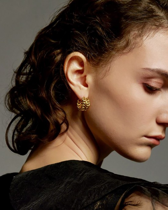 KELLY Gold Double Chain Hoop Earrings