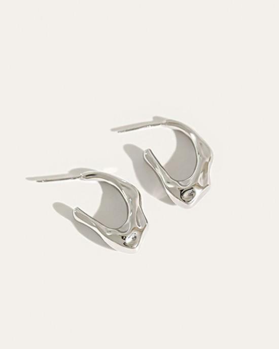 MILLIE Silver Open Hoop Earrings