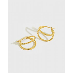 PAOLA Gold Vermeil Double Hoop Earrings