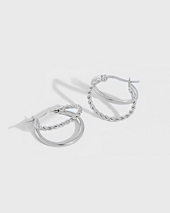 PAOLA Sterling Silver Double Hoop Earrings